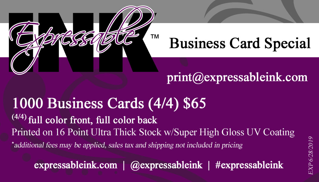 @expressableink business card special